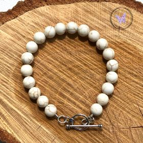 Magnesite Healing Bracelet With Silver Toggle Clasp